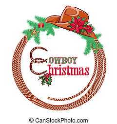 American cowboy Christmas background isolated on white -...