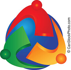 Teamwork people and globe logo