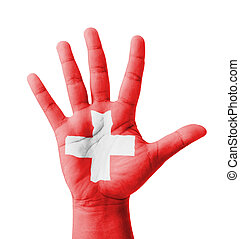 Open hand raised, multi purpose concept, Switzerland flag