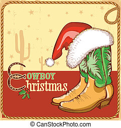Cowboy christmas card with american boots and Santa hat