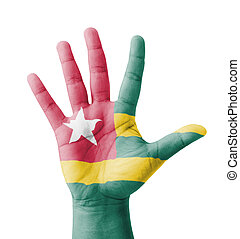 Open hand raised, multi purpose concept, Togo flag painted -...
