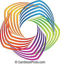 Colorful swirly abstract icon logo vector