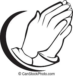Praying hands logo - Hands praying silhouette icon vector