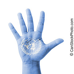 Open hand raised, multi purpose concept, UN (United Nations)...