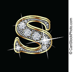 S gold and diamonds letter vector collection
