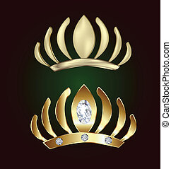 Gold princess crowns with diamonds