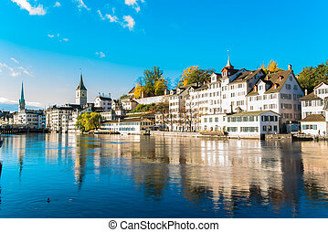 famous Zurich old city - Limmat river and famous Zurich old...