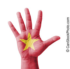 Open hand raised, multi purpose concept, Vietnam flag...