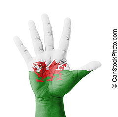 Open hand raised, multi purpose concept, Wales flag painted...