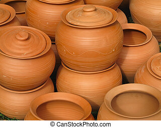 Red clay pottery ceramics abstract background
