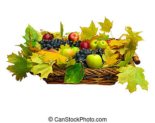 Fresh fruit and leaves in basket isolated on white
