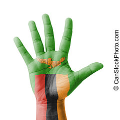 Open hand raised, multi purpose concept, Zambia flag painted...