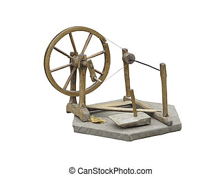 Old manual wooden spinning-wheel distaff isolated on white...