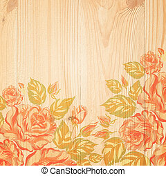 Red roses on a background of wood.