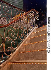 lighted stairway - stairway with chrome rail