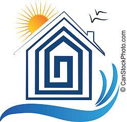 House on the beach, sun and birds icon -logo vector