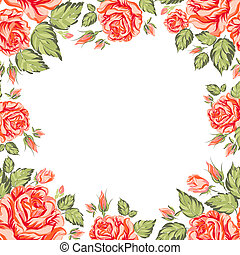 Frame of red roses on a white background