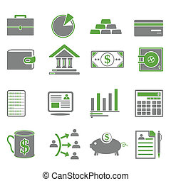 Finance, Business Green Icons - Finance, business icons in...