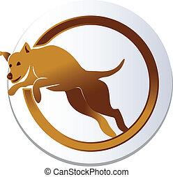 Dog jump logo - Dog jump icon vector design