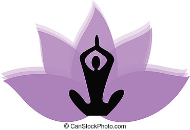 Lotus flower logo - Yoga man and lotus flower logo vector