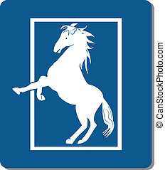 White horse logo - White horse icon creative vector design
