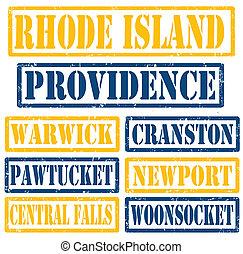 Rhode Island Cities stamps - Set of Rhode Island cities...