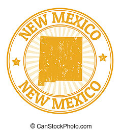 New Mexico stamp - Grunge rubber stamp with the name and map...