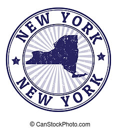 New York stamp - Grunge rubber stamp with the name and map...