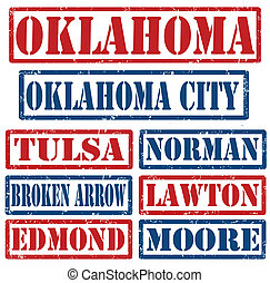 Oklahoma Cities stamps - Set of Oklahoma cities stamps on...
