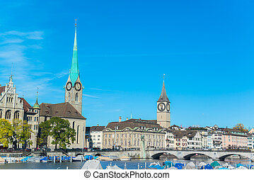 Limmat river and famous Zurich churches