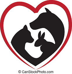 Cat, dog and rabbit silhouettes in a big heart -logo...
