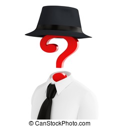 3d human costume with hat and question mark