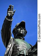 General Dufour statue, Geneva, Switzerland - Close up on...