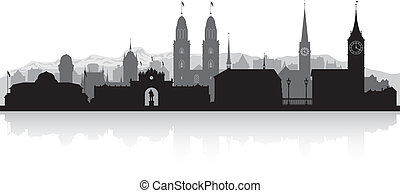 Zurich Switzerland city skyline silhouette - Zurich...