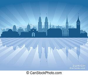 Zurich Switzerland city skyline vector silhouette...