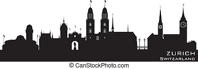 Zurich Switzerland city skyline vector silhouette - Zurich...