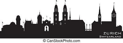 Zurich Switzerland city skyline vector silhouette - Zurich...