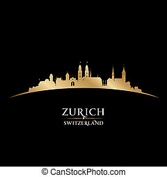 Zurich Switzerland city skyline silhouette black background...