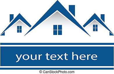 verdadero, propiedad, Casas, logotipo