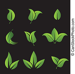 Set of green leafs icons elements