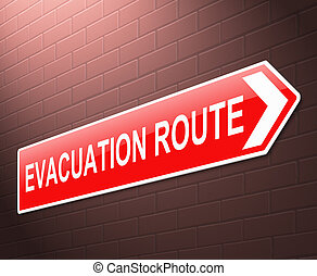 Evacuation route sign. - Illustration depicting an...
