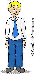 sad bussiness man - vector illustration of a sad cartoon...