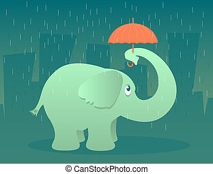 Elephant Umbrella - Illustration of an elephant standing in...