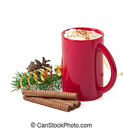 Christmas card with red coffee cup topped with whipped cream...