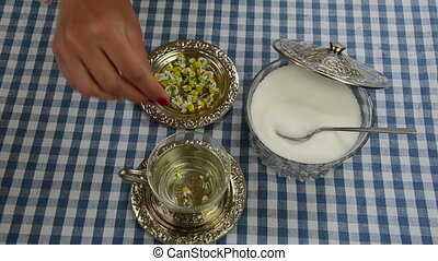 chamomile herb cup sugar