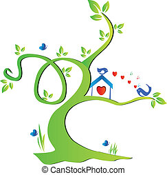 Tree and birds in love Vivid colors vector design