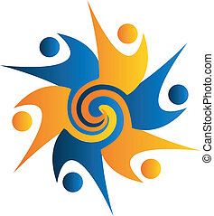 Swirly swooshes logo - Swirly swooshes people logo vector