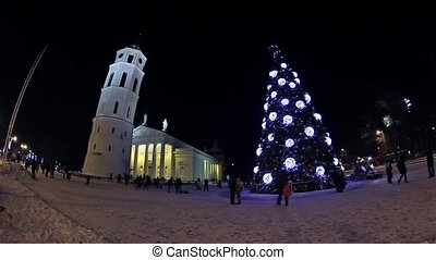 Christmas tree on Cathedral Square, Vilnius, Lithuania