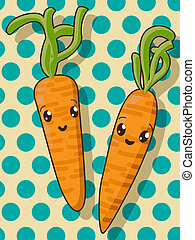 Kawaii carrot icons - Kawaii style drawing carrot icons