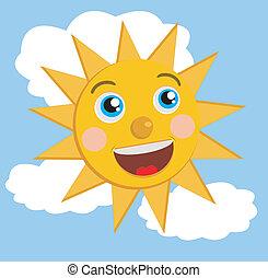a merry sun on blue sky